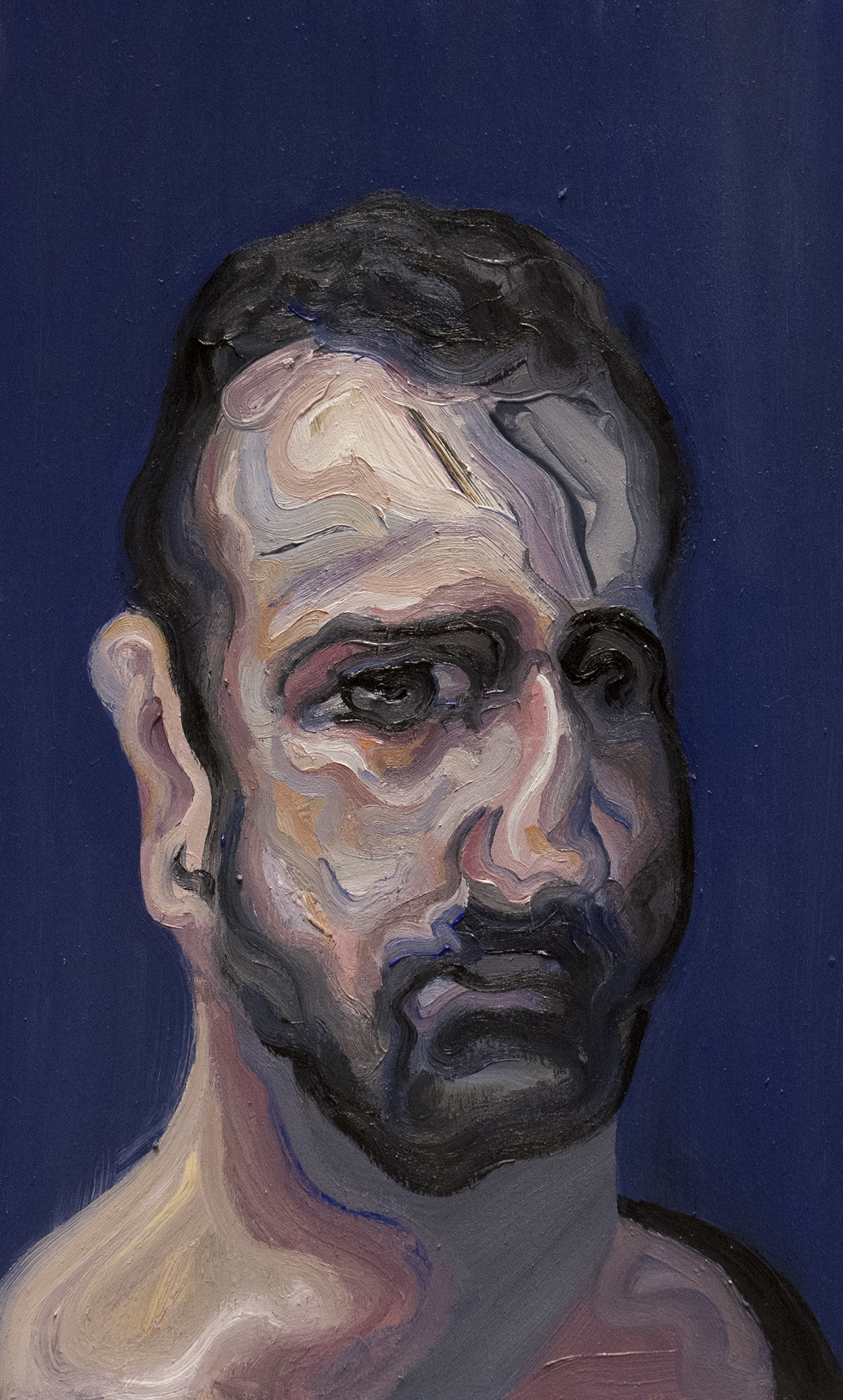 Mr. Silver Eye (Self Portrait) / Oil on Wood / 22.5 x 37.5 cm / 2017