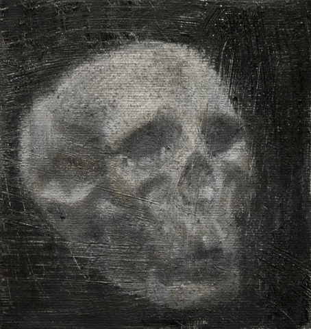 Skull Study #3 / Oil on Canvas / 15 x 16 cm / 2017
