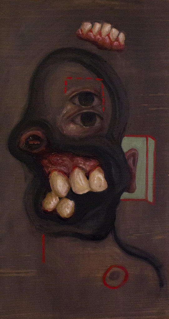 Clout (Self Portrait) / Oil on Wood / 21 x 40 cm / 2019