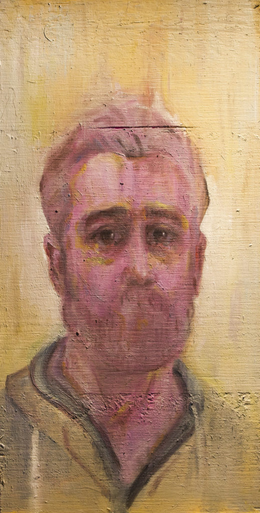 Dolour (Self Portrait) / Oil on Wood / 10 x 20 cm / 2020 by Armando Cabba
